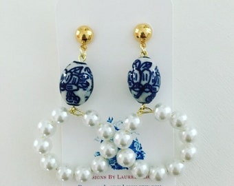 Chinoiserie Pearl Hoop Earrings | blue and white, navy, royal, hoops, posts, Designs by Laurel Leigh
