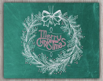 Merry Christmas Gifts, Pink And White Wreath Christmas Art Prints, Green And Pink Christmas Chalkboard Art, Green Chalkboard Poster Board