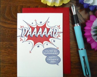 letterpress comic book style daaaaad! you're my superhero happy father's day! greeting card blue & red dad