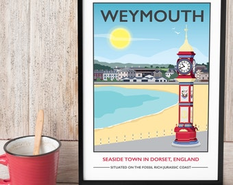 Weymouth Beach, Dorset Print