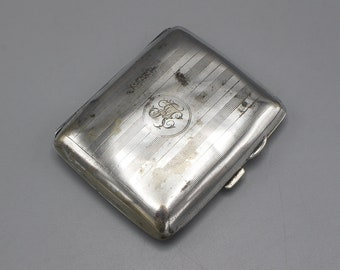 Very Worn 1940's Silver Tone Silver Plated Cigarette Case With Etched Detail
