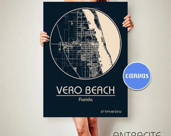 VERO BEACH Florida CANVAS Map Vero Beach Florida Poster City Map Vero Beach Florida Art Print Vero Beach Florida