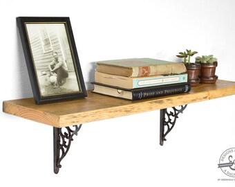 "28 1/2"" Reclaimed Wood Shelf - Rustic Wood Shelves - Industrial Wall Shelf -  Floating Shelf with Brackets - Hanging Bookshelf - Display"