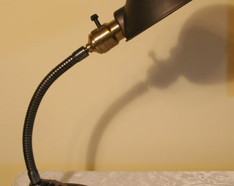 Antique Lighting: Circa 1920s art deco classic gooseneck desk lamp with metal shade