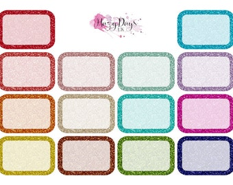 Glitter Half Boxes - planner stickers to fit ECLP, Happy Planner, TN and personal planners