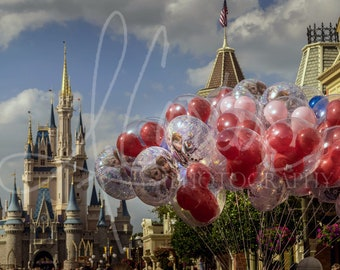Castle Balloons- High Quality Walt Disney World Magic Kingdom Cinderella Castle photography 5x7, 8x10, 11x14, 12x18, 16x20 and 18x24
