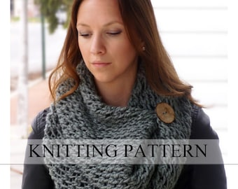 Knitting Scarf Patterns Infinity Scarf : Knitting pattern the lancaster scarf chunky button neckwarmer