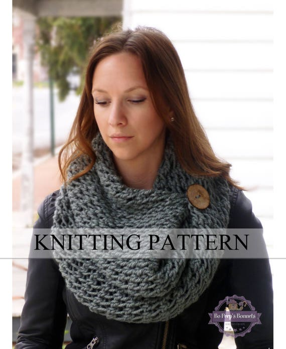 Lace Scarf Knitting Pattern Button Cowl Pattern Knitted Scarf