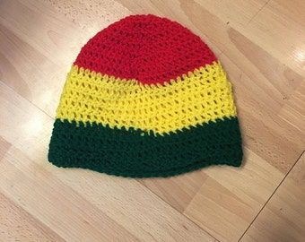 Rasta beanie, 420 friendly, 420 gifts, bob marley gift, jamaican hat, red green and yellow hat, Rasta, All sizes