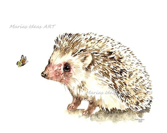 Hedgehog art, Hedgehog wall art, Hedgehog print, watercolor art, watercolor hedgehog, nursery wall art, Marias Ideas Art