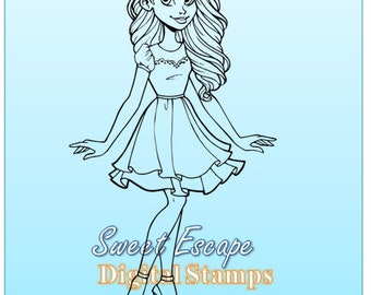 Girly Girl Digital Stamp