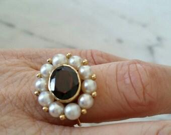 14k pearl and garnet halo ring | pearl conversion ring