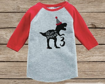 Dinosaur Birthday Shirt - Boys Third Birthday Dino Tshirt - Dino Three Birthday Shirt - Red Raglan Dinosaur 3rd Birthday Tee - Threeasaurus