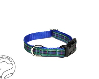 "Rose Clan Tartan Small Dog Collar - Thin Dog Collar - 1/2"" (12mm) Wide - Blue and Green Plaid - Choice of style and size"