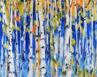 "A grove of Aspen trees in the Autumn. ""Aspen Grove 2"".  A decorative CERAMIC TILE wall  art  -  10"" x 8"".  Free U.S. shipping."