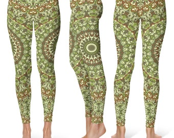 Festival Leggings, Camo Leggings, Camouflage Green and Brown Printed Leggings, Yoga Pants Womens Stretch Pants, Yoga Tights