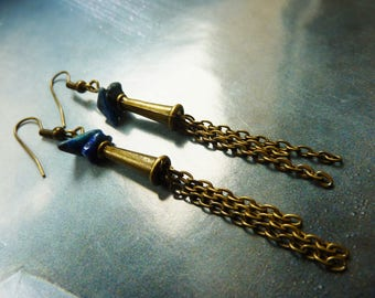 Bohemian earrings boho bronze metal chains and blue stone chips