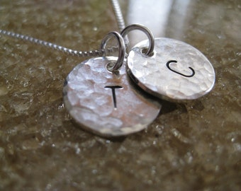 Personalized Hand Stamped Sterling Silver Necklace Clean Classic Intials