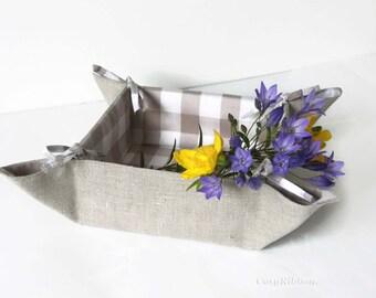 Fabric Storage Basket, Linen Bread Bin, Collapsable Basket, Beige linen Organizer, folding storage basket, Folding Bin, Square Basket