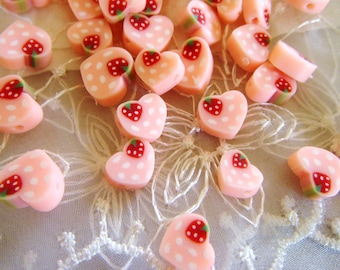 Fimo Polymer Clay Round Flat Beads Colorful Pink Heart Strawberry 7x9mm approx. - 10 pieces