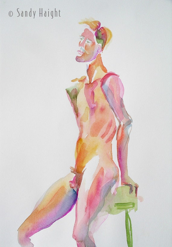 Original Watercolor, 25% OFF SALE! Man, painting, art, life drawing, nude, male, frontal, figure, model, wall art, home decor, unframed, 2D