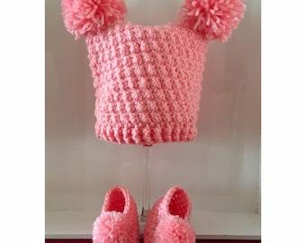 Crochet pom pom hat and slippers!