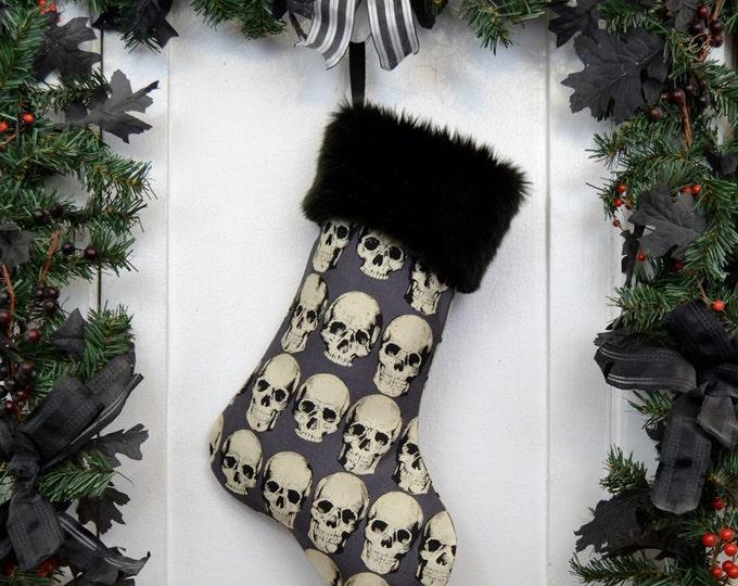 Goth Punk Halloween Christmas Stocking Realistic Anatomical Skulls, Gray Background, Black Faux Fur, Black Canvas Liner, Dark Christmas