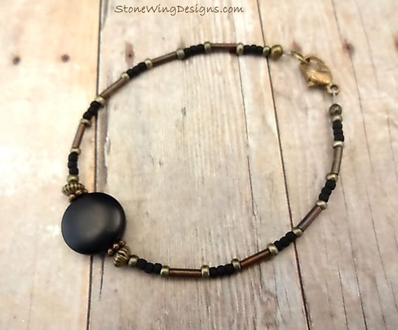 Boho Rustic Stackable Black Onyx Gemstone Bracelet