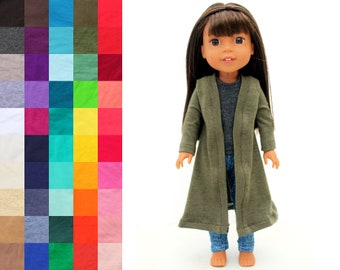 Fits like Wellie Wishers Doll Clothes - Duster Cardigan, You Choose Color and Sleeve Length   14.5 Inch Doll Clothes