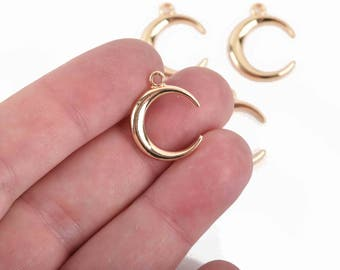 5 Gold Plated CRESCENT MOON Charms, 20x17mm, chs2972