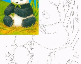 Panda bear, Watercolor painting kit