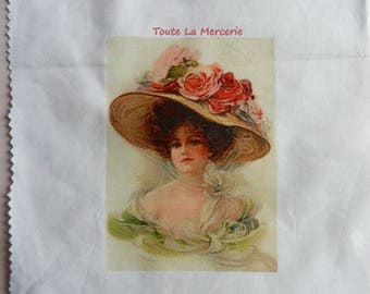 Romantic transfer: Lady with hat with flowers