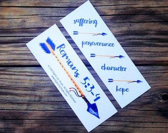 Arrow Bookmarks - Romans Bookmark - Encouragement Gift - Hope Gift - Perseverance - Suffering - Tribal Arrows - Bible Study Favors