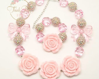 Little Girls Chunky Necklace,Pink Bubblegum necklace , Girls Necklace, Pink girls necklace, Children Necklace, baby necklace, Baby Birthday.