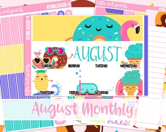 A LA CARTE MONTHLY - August 2 Monthly A La Carte Items - Fits Erin Condren Vertical, Hourly, Or Horizontal, Planner Stickers - [ECML0008]