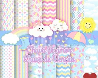 Rain Love rain shower blessing digital Paper blessed Rainy Kit