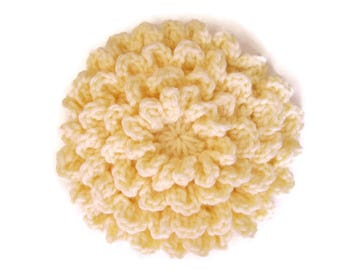 Big Crocheted Flower, Applique, Yellow Flower, 6 Inches, Extra Large Flower Embellishment, Crocheted Applique, Sew on Flower