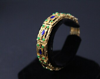 Stunning 18K Italian Gold with Blue and Green Enamel Link Bracelet