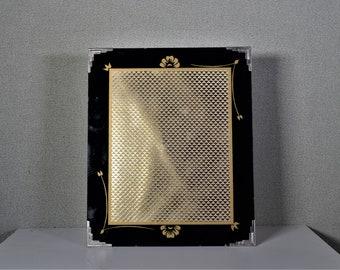 8x10 Art Deco Photo Frame Frameless Vintage Black and Gold