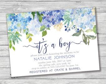 It's a Boy Baby Shower Invitation, Blue Baby Shower, Hydrangea Baby Shower Invitation, Printable Invitation, Floral Baby Shower, Baby Boy