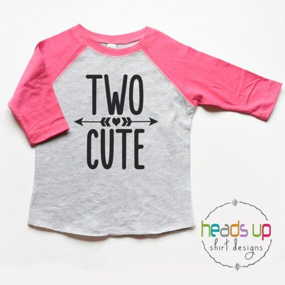 Two Cute Toddler Girl Raglan Shirt Two Birthday Shirt Raglan