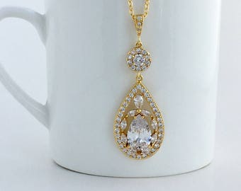 Gold Bridal Necklace Gold Crystal Necklace Gold Wedding Crystal Pendant Gold Teardrop Crystal Necklace Gold Bridesmaid Crystal Jewelry