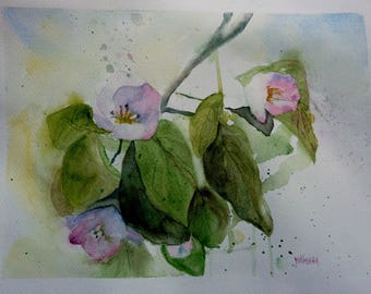 the tree and flowers watercolor