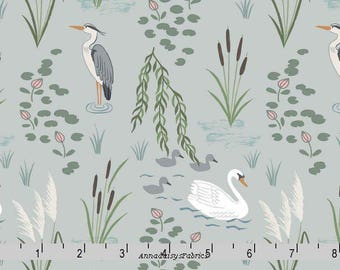 Swan and Egret Fabric, Lewis & Irene Fabric,  Down by the River A220 1 Light Gray, Heron Quilt Fabric, Swan, Wildlife Fabric, Birds, Cotton