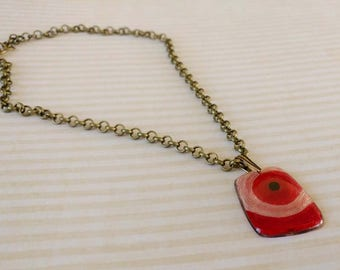 Beauty Gift Red Yarn in Resin Pendant on Antiqued Gold Plated Brass Chain