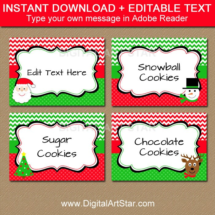Christmas buffet cards christmas label template cute zoom pronofoot35fo Images