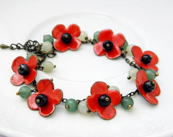 Poppy enamel bracelet - floral enamel bracelet with gemstones - floral - ooak