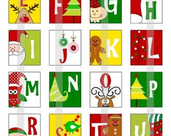 Christmas Alphabets - one 4x6 inch digital sheet of scrabble size (0.75 x 0.83 inches) images for scrabble tiles