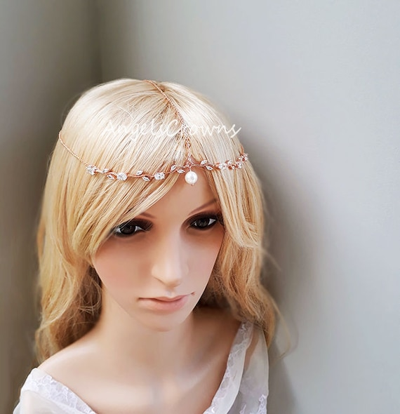 Pearl Wedding Rose Gold Head Chain Silver Headpiece Hair