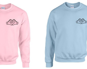 Disney Inspired Best Friends Mickey Mouse Sweater Blue Pink Unisex Adult